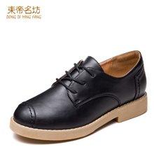 东帝名坊2018新款单鞋 系带时尚方跟防水台英伦风圆头深口女鞋 D661TH12