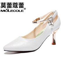 莫蕾蔻蕾2018新款细跟高跟鞋浅口金属链条一字扣气质女鞋 70203