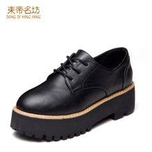 东帝名坊2018新款单鞋 系带厚底防水台圆头英伦风时尚舒适女鞋 D66TH113