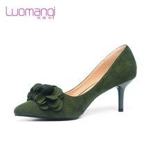 洛曼琪2016秋季新款女鞋 高跟细跟花朵尖头磨砂绒面女单鞋731029