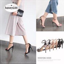 honeyGIRL夏季一字带凉鞋女罗马高跟鞋细跟鞋子百搭女鞋TMHG16XLSZ-XT227