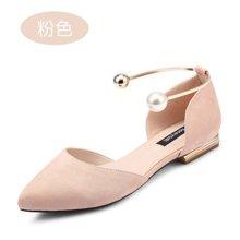honeyGIRL春季女鞋细跟尖头中空高跟鞋珍珠浅口猫跟单鞋TMHG17SP50QXT148