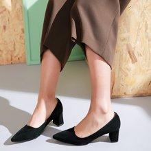 honeyGIRL尖头粗跟单鞋百搭春季女鞋浅口高跟鞋韩版鞋子TMHG171SP23-XT038