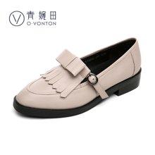 青婉田单鞋女乐福鞋小皮鞋真皮英伦风复古流苏女鞋套脚单鞋子V17CD0447