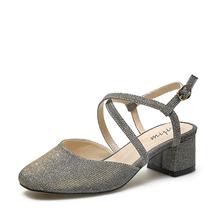 米基一字扣交叉绑带包头凉鞋女粗中跟单鞋方跟罗马鞋NDX-16