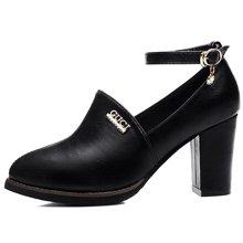 古奇天伦 单鞋女鞋子春鞋2018新款低帮女鞋粗跟黑色工作皮鞋职业高跟鞋 TL/8047