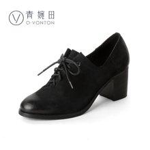 青婉田四季鞋女真皮复古女鞋圆头系带单鞋女粗跟高跟鞋皮鞋女V17CD0430