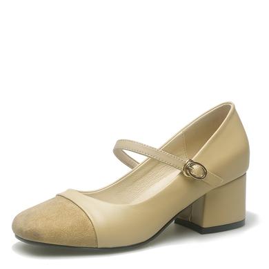 米基絨面拼接粗跟高跟鞋女中跟尖頭單鞋一腳蹬淺口懶人鞋韓版潮PX-82
