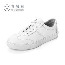 青婉田單鞋女平底休閑鞋女小白鞋百搭韓版小皮鞋板鞋女Q17CD0467