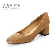 青婉田单鞋女浅口粗跟女鞋真皮套脚浅口单鞋舒适休闲高跟鞋女四季鞋V17CD0469