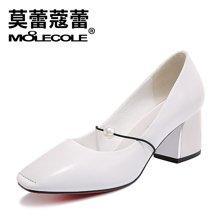 莫蕾蔻蕾 新款春季英伦方头高跟鞋浅口粗跟女士单鞋头层牛皮职业女鞋72320