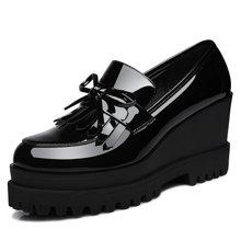 古奇天伦  坡跟休闲单鞋女2018初秋新款英伦风小皮鞋休闲厚底松糕鞋高跟女单鞋 TL/8457