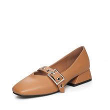 米基方头中跟一字皮带扣浅口单鞋女粗方跟复古奶奶鞋PX-128