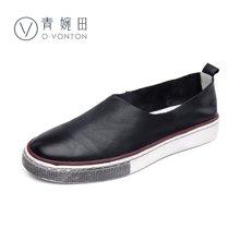 青婉田新款单鞋女文艺复古女鞋圆头套脚单鞋女平底鞋子Q17CD0415