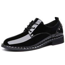 莫蕾蔻蕾2019新款英伦风小皮鞋漆皮布洛克休闲复古粗跟单鞋百搭时尚女鞋72369