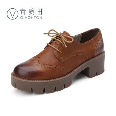 青婉田厚底鞋女松糕底中跟单鞋布洛克小皮鞋女鞋复古女鞋Q16CD0231