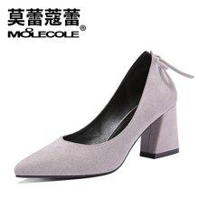 莫蕾蔻蕾秋季新款韩版女鞋尖头粗跟高跟百搭时尚蝴蝶结女单鞋 72330
