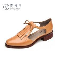青婉田流苏单鞋女平底玛丽珍鞋复古女鞋子V17CD0462