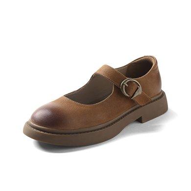 青婉田复古玛丽珍鞋一字扣单鞋女舒适真皮平底休闲鞋女低跟S17QD0562
