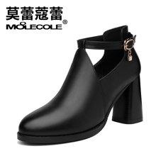 莫蕾蔻蕾新款韩版百搭时尚尖头短靴单鞋细跟高跟女鞋72388