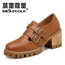 莫蕾蔻蕾新款韩版女鞋粗跟防水台搭扣休闲单鞋女 72268