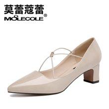 莫蕾蔻蕾 高跟鞋女2018新款春季尖头绑带单鞋百搭性感时尚韩版粗跟鞋72352