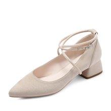 honeyGIRL女鞋尖头浅口单鞋优雅交叉扣带高跟鞋中跟HG17FA30-XT339