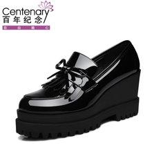 百年纪念 松糕鞋厚底秋季新款女鞋百搭韩版高跟小皮鞋英伦学生坡跟单鞋 bn/1387