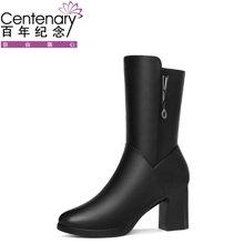 百年纪念新款圆头侧拉链女靴 方跟纯色中筒靴单鞋 防水台女鞋子bn/ 1505