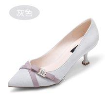 honeyGIRL秋季女鞋尖头浅口单鞋女优雅猫跟鞋水钻高跟鞋HG17FA03-XT342