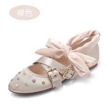 honeyGIRL女鞋绑带芭蕾鞋铆钉浅口单鞋女圆头平底鞋HG17FA07-XT187