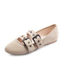 honeyGIRL女鞋玛丽珍鞋扣带平底鞋低跟方头浅口单鞋HG17FA07-XT311