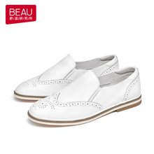 BEAU 新款乐福鞋布洛克女鞋平底英伦风牛津鞋低跟皮鞋休闲鞋27320