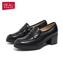 BEAU 乐福鞋女鞋新款高跟女粗跟小皮鞋休闲英伦风单鞋A15118