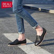 BEAU 鞋子女新款春季单鞋女平底乐福鞋女小白鞋厚底小皮鞋27319