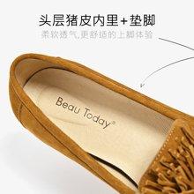 BeauToday 新款英伦风女鞋平底乐福鞋春夏休闲复古流苏单鞋27094