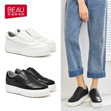 BEAU 新款小白鞋女厚底松糕鞋布洛克樂福鞋深口單鞋女平底29504