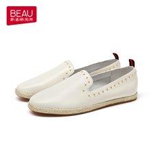 BEAU 夏季新款英伦女鞋浅口草编单鞋女平底乐福鞋女小皮鞋21333