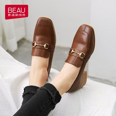 BEAU 夏季新款马衔扣乐福鞋女粗跟英伦风女鞋复古方头单鞋15124
