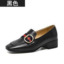 BEAU 乐福鞋女夏季新款圆扣粗跟英伦风女鞋复古方头单鞋女15125