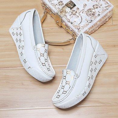 古奇天伦 春季新品圆头套脚低帮女鞋纯色坡跟女单鞋懒人妈妈鞋 TL/8918