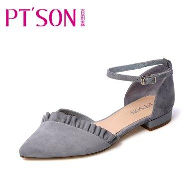 百田森PYQ18205 荷葉邊羊皮尖頭方跟一字扣舒適中空女鞋