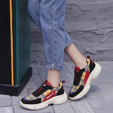 古奇天倫女鞋2019秋季新款格子休閑鞋運動旅游鞋系帶鞋子9183