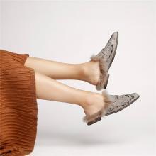 青婉田刺绣毛毛鞋女冬外穿1新款原创兔毛套脚懒人鞋女一脚蹬女X18QD0980