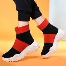金絲兔針織襪子鞋女新款休閑嘻哈網紅高幫運動鞋子ulzzang彈力襪靴