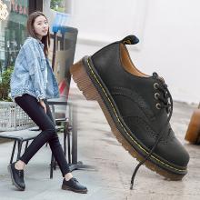 潮牌秋季女鞋英伦布洛克小皮鞋防滑耐磨牛筋底低帮工装马丁鞋AG-L682