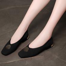 金丝兔妈妈鞋软底女舒适百搭韩版粗跟低跟方头单鞋夏季新款中年女鞋