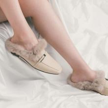 青婉田穆勒鞋女新款時尚懶人包頭半托鞋女毛毛鞋女冬外穿平底Y18QD1135
