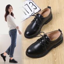 女鞋秋季新款小皮鞋女百搭韓版學生英倫黑色正裝圓頭復古厚底AG9833