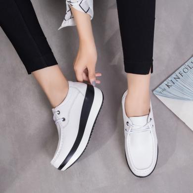 MIJI新款休閑鞋增高復古小皮鞋真皮搖搖鞋厚底松糕女鞋QY3218